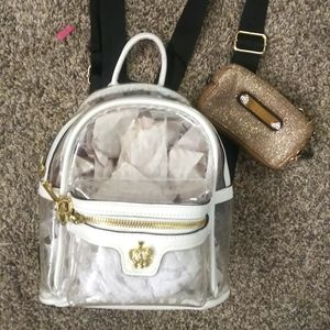 Nwt juicy couture backpack w gold clutch